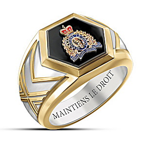 RCMP Men's Black Onyx Ring Engraved With Maintiens Le Droit
