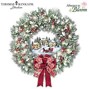 "Thomas Kinkade ""A Holiday Homecoming"" Lighted Musical Wreath"