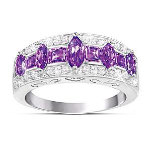 """Purple Rhapsody"" Amethyst And Diamond Women's Ring"