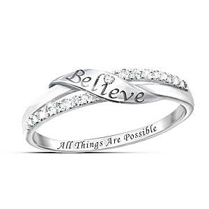 """""""Believe"""" Engraved Solid Silver Ring With 11 Diamonds"""