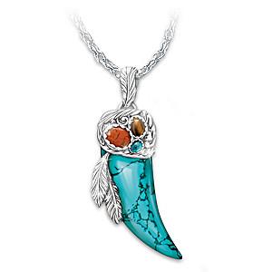 """""""Native Spirit"""" Buffalo Horn-Shaped Turquoise Necklace"""