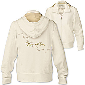 """""""Footprints In The Sand"""" Women's Hoodie With Poem On Lining"""