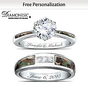 Camo Personalized Diamonesk Bridal Ring Set