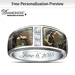 Camo Personalized Diamonesk Men's Wedding Ring