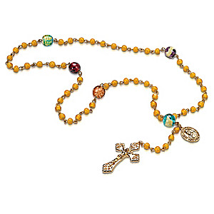Saint Brother André 18K Gold-Plated Rosary With Glass Beads