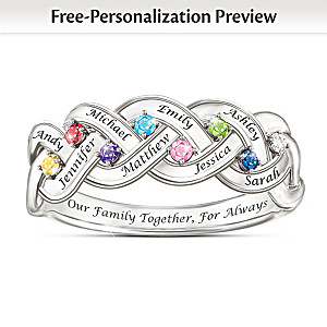 """""""Together For Always"""" Engraved Birthstone Family Ring"""