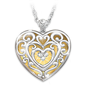 """""""Glowing With Beauty"""" Engraved Granddaughter Diamond Pendant"""