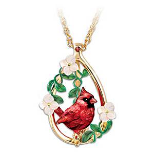 """Cardinal Beauty"" Garnet Gemstone Pendant Necklace"