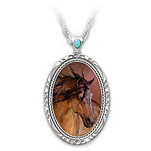 """Laurie Prindle """"Spirit Of The West"""" Horse Art Necklace"""
