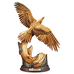 Rising Majesty Eagle Sculpture With Hand-Carved Wood Look