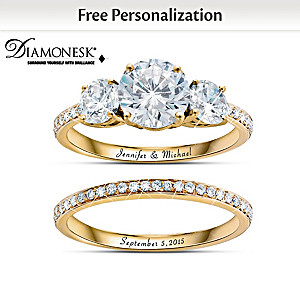 Diamonesk Bridal Ring Set With Personalized Engraving