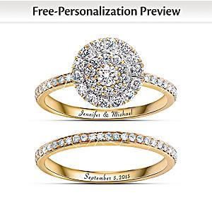 """""""Golden"""" Custom Engraved Diamond Bridal Ring Set"""