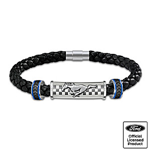"""Untamed American Spirit"" Ford Mustang Leather Bracelet"