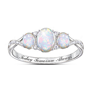 """""""Light Of Our Love"""" Engraved Opal And White Topaz Ring"""