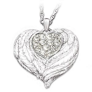 """Wings Of Love"" Engraved Swarovski Locket For Granddaughter"