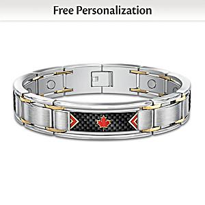 """The Spirit Of Canada"" Personalized Monogram Men's Bracelet"