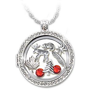 """O Canada"" Charm Locket Necklace With Swarovski Crystals"