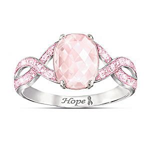 """Dazzling Hope"" Breast Cancer Awareness Gemstone Ring"