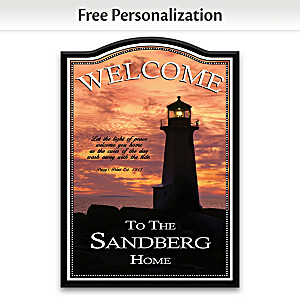 """""""Light Of Peace Lighthouse"""" Personalized Welcome Sign"""