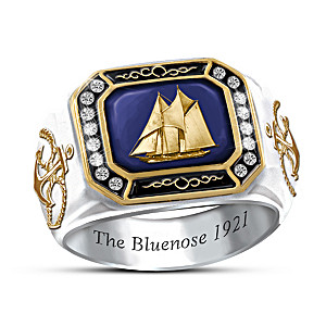 """""""The Bluenose"""" Engraved Men's Ring With Swarovski Crystals"""