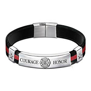 """""""In The Line Of Duty"""" Firefighter Men's Leather Bracelet"""