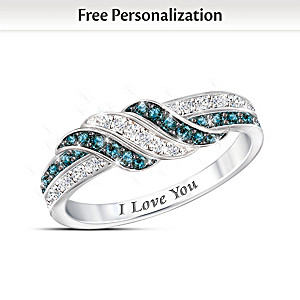 """""""Embrace The Love"""" Personalized Blue And White Diamond Ring"""