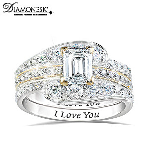 """Engraved """"I Love You"""" 3-Band Stackable Diamonesk Ring"""