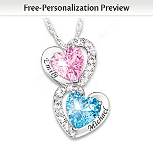 """""""Every Beat Of My Heart"""" Personalized Birthstone Necklace"""