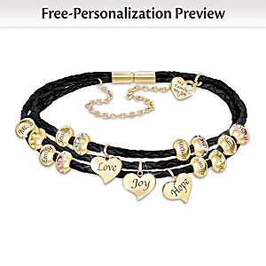 """United By Love"" Name-Engraved Family Birthstone Bracelet"