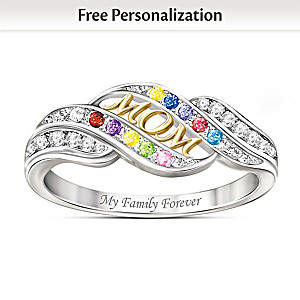 """""""Mom's Blessings"""" Personalized Crystal Birthstone Ring"""