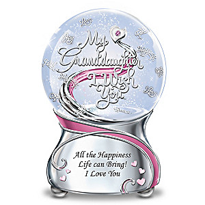 Musical Glitter Globe For Granddaughter With Poem Card