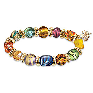 """""""Pool Of Serenity"""" Glass Bead Bracelet With Maple Leaf Charm"""