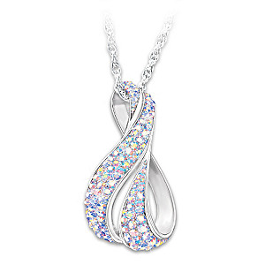 Aurora Borealis Pendant Necklace With 35 Swarovski Crystals
