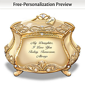 Daughter, I Love You Music Box With Name-Engraved Charm