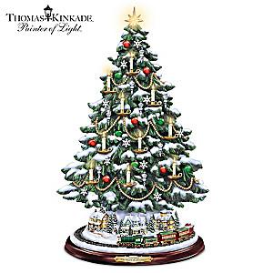 Thomas Kinkade Tabletop Tree With Lights, Motion And Music