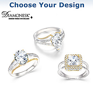 Touch Of Gold Women's Diamonesk Ring: Choice Of 3 Designs