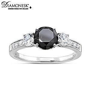 """""""Black Brilliance"""" Diamonesk Women's Ring"""