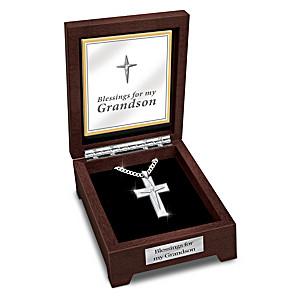 """Blessed Grandson"" White Sapphire Cross Pendant Necklace"