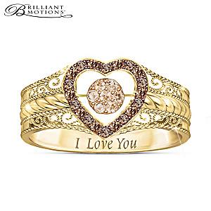 Champagne Diamond Ring With Custom Movement Setting