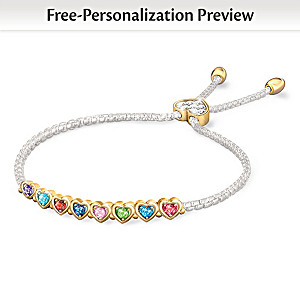 """""""The Heart Of Our Family"""" Personalized Birthstone Bracelet"""