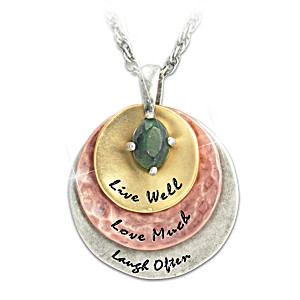 """""""Live Well, Love Much, Laugh Often"""" Jade Pendant Necklace"""