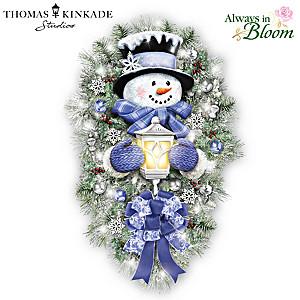 "Thomas Kinkade ""A Warm Winter Welcome"" Lighted Wreath"