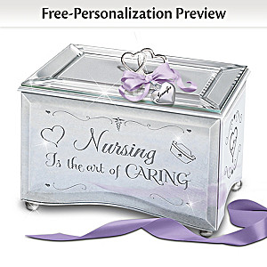 """""""Nursing Is The Art Of Caring"""" Personalized Glass Music Box"""