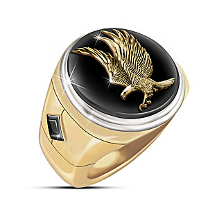 """""""Wings Of Majesty"""" Black Onyx And Sapphire Men's Ring"""