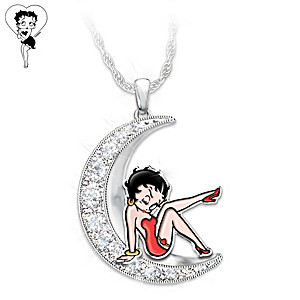 Over The Moon With Betty Boop Crescent Moon Crystal Necklace
