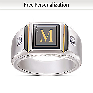 """Man Of Distinction"" Diamond And Black Onyx Initial Ring"
