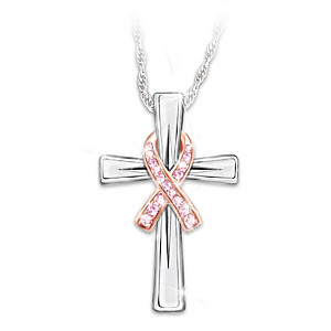 """""""Faith And Hope"""" Breast Cancer Awareness Pendant Necklace"""
