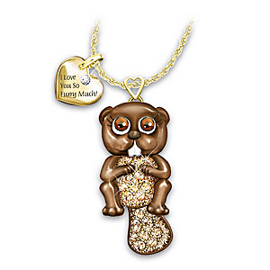 """""""Granddaughter, I Love You So Furry Much"""" Crystal Necklace"""