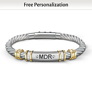 """Strength For My Grandson"" Personalized Men's Bracelet"