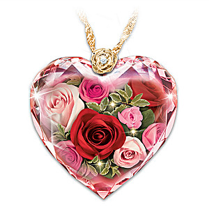 """""""Love Blooms Forever"""" Diamond Crystal Pendant Necklace"""